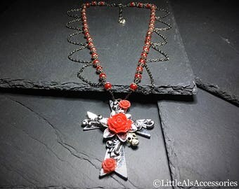 Floral Cross Pendant, Cross Pendant, Floral Cross Necklace, Gothic Gift, Glass Pearl Necklace, Cross Necklace, Gothic Jewelry, Ornate Cross