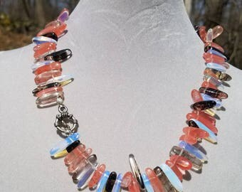Brown, black, clear multi-colored necklace