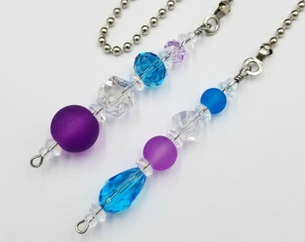 Ceiling Fan and Light Pull Chains Set with Glass Beads.  Purple, Lavender, Aqua and Clear Glass Beads.  Bedroom / Nursery Decoration.