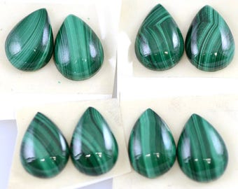 Two Pairs of Malachite Cabochons 14x10mm Pear Shape Cabochons (4 cabs)
