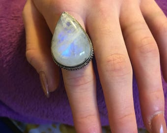 Large Vintage Teardrop Rainbow Moonstone Ring - Rainbow Moonstone Ring - Moonstone Ring - Rainbow Moonstone Ring