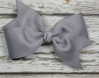 NEW Solid Gray Toddler/Girl Basic Boutique Hair Bow on Lined Alligator Clip