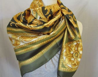 Gorgeous 100% silk green and gold barocco pattern scarf made in Italy vintage!