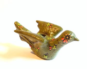 Mid Century  Fitz and Floyd Avocado Colored Dove Candle Holder