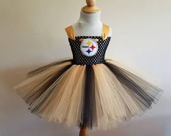 Pittsburgh Steelers inspired tutu dress and matching bow size nb to 12years