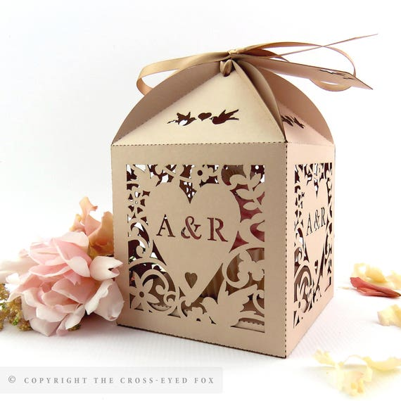 Extra Large Wedding Gift Box : Cupcake box vintage wedding Love birds wedding favor box