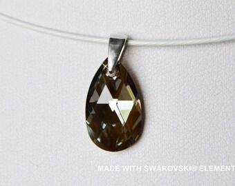 SWAROVSKI Crystal Gray Brown almond pendant / 925 sterling silver