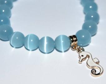 Bracelet blue eye cat charm