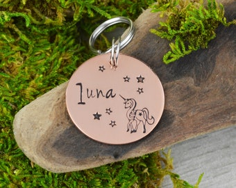 Hand Stamped Pet ID Tag • Personalized Unicorn Pet/Dog Tag • Dog Collar Tag • Custom Engraved Dog Tag