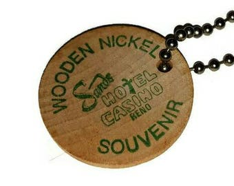 Lucky SANDS HOTEL Casino Wooden Nickel KEYCHAIN Vintage Reno Nevada Souvenir Advertising 70s Wood Token Key Ring Fob Gift Gambler Key Chain