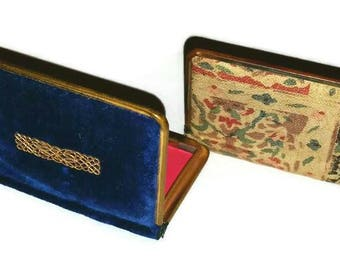 Art Deco BOOK Compacts 1920s Something Blue VELVET & TAPESTRY Vintage Vanity Cases 20s Flapper Beauty Anniversary Wedding Bridesmaid Gift