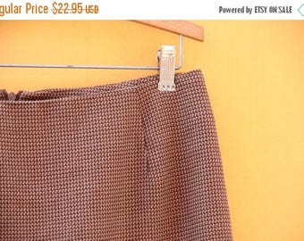 Vintage Brown Mini Pencil Skirt: Earthtone/ Women's Size Medium  [Brown Tan Officewear Houndstooth Fall] 31 inch waist