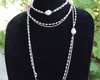 Vintage Faux Pearl Double Strand Necklace