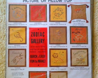 Vintage Zodiac Gallery Crewel Kit Picture or Pillow Top Scorpio Crewel Creative Stitchery 1970s Zodiac Crewel  B21
