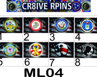 Military Rectangle 2 x 3in Armed Forces Buttons, Veterans,Armed Forces  ML04R