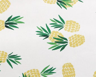 "Cotton Fabric Pineapple Fabric by the Yard 44"" Wide Cozy Pineapple"
