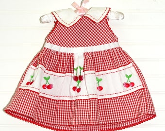 Vintage baby red gingham, Youngland Dress for 6-9 Mo