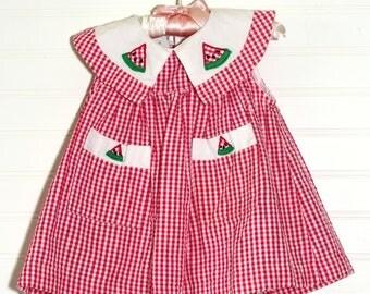 Vintage baby dress, Pink gingham with watermelon detailing, Samara sz 12