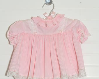 Vintage baby dress. Baby Pink with pleats, no name for 12-18 Mo