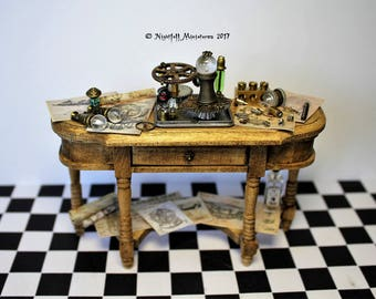 Dollhouse Miniature Mad Scientist Steampunk Inventors Sideboard Table  in 1:12 scale