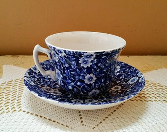 Vintage Calico Blue Burleigh Staffordshire Flat Cup and Saucer Set Royal Crownford