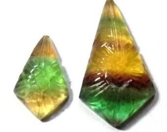 35% Sale -- Multi fluorite , Mix Size, Carved Stone, Fancy Shape, 2 Pcs.