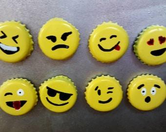 Emoji bottle cap magnets