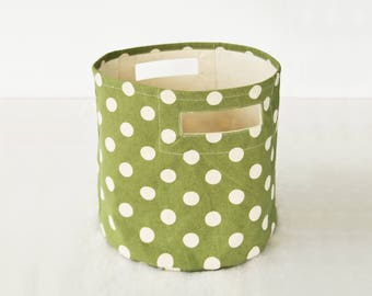Canvas basket, polka dot print, green and off white, storage basket, fabric bin, sizes available
