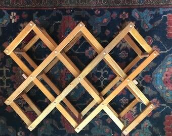 vintage accordion wooden wine rack