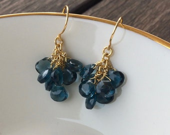 London Blue Topaz. Dangle Cluster Earrings. Faceted Briolette with 24kt Gold Vermeil