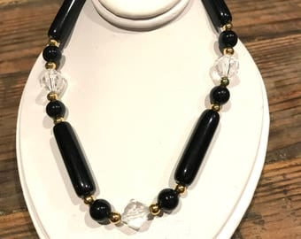 Vintage Trifari  Black And Clear Beaded Necklace