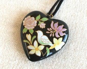 Dual sided heart bird flower necklace