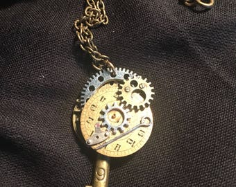 Steampunk Time Travel Key Pendant
