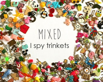 Mixed I Spy trinkets for I spy bag/ bottle, children crafts, language games, 1-3cm, Set of 20/50/100/200/300/400