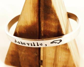 Custom North Carolina City Homesick Bracelet / NC Bracelet / Hometown Jewelry / Tarheel State/ North Carolina Gift / Hand Stamped