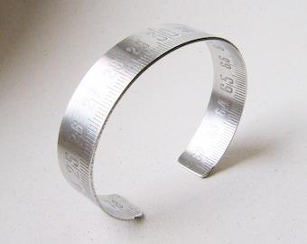 Mens Cuff, Ruler Bangle, Folding Ruler Bangle, Steampunk Bracelet, Aluminium Ruler, Aluminium Bangle, Crafstman Bangle, Ruler Bracelet