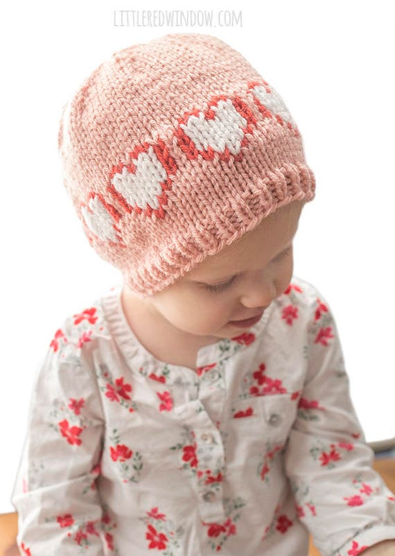 Two Color Heart Hat KNITTING PATTERN / Baby Heart Hat / Baby