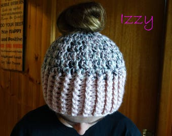 "Girls/Ladies Messy Bun Beanie, Ponytail Crochet Beanie/Hat ""Izzy"" in pink/blue/grey/black/white, Preschool,Child,Teen,Adult,Woman,Hand Made"