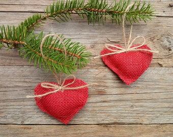 Christmas Tree Ornaments Decorations, Heart Ornaments, Red Heart Ornaments, Christmas Decoration, Valentine's Day rustic