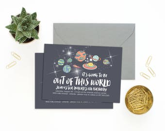 Solar System Invitations // Planet Party Invitations // Space Invitations // Birthday Party Invitations // Space Birthday Party// The Aurora