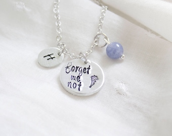 Forget Me Not Necklace -  Forget-me-not Jewelry - Gift for Grieving Mother - Grief Support Healing Gemstones for Grieving Necklace Christmas