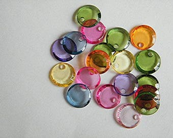 10 acrylic pendants pellets, multicolor mix, 12 mm diameter