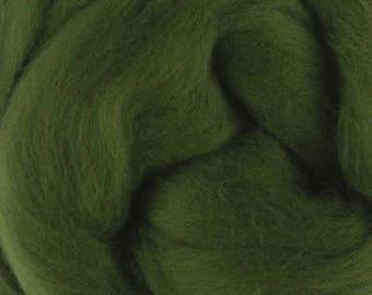 Merino-Silk Wool Roving / Combed Top / Wool Braid in Ivy (DHG wool) - 4 ounces