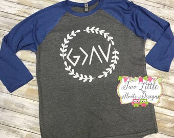 God is greater than the ups and downs ~ Romans 8:28 ~ Inspired Raglan Tee ~ Christian Raglan