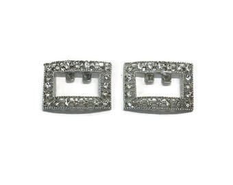 Rhinestone Shoe Clips, Vintage Silver Tone Shoe Ornaments, Costume Jewelry