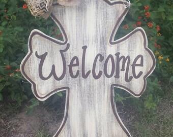 Rustic cross door hanger, welcome sign