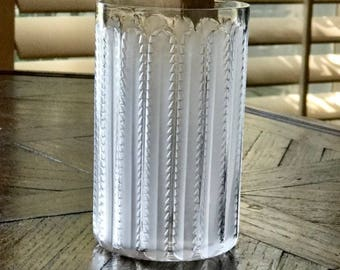 Lalique Jaffa Tumbler Clear and Frosted Crystal Signed and Authentic Mint Condition