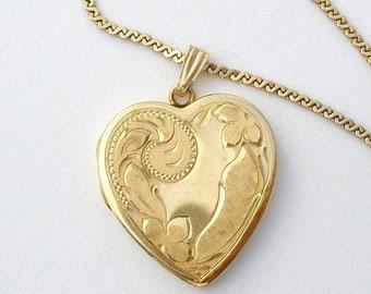 "Sale 14K Yellow Gold, Heart Locket, Pendant Necklace, Signed HF Barrows, 18.5"" Long, Vintage Locket, Etched Locket, Picture Locket"