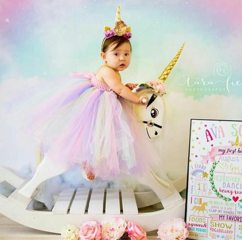 Beautiful baby girl unicorn theme in pastel colors tutu dress