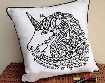 Unicorn CushionTo Colour In Doodle Art Fabric Permanent Pens Adult Colouring Fun Activity Colourful Design Both Sides Hours Of Fun